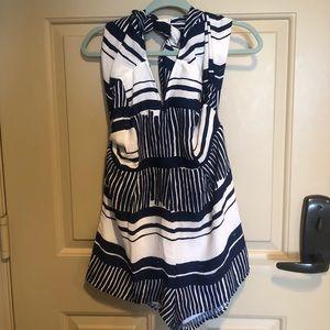 Lulu's Pants - Lulus blue & white striped halter romper